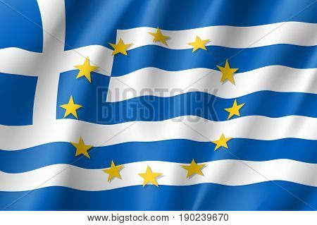 Greece national flag with a circle of European Union twelve gold stars, identity and unity with EU, member since 1 January 1981. Realistic vector style illustration