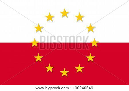 Poland national flag with a circle of European Union twelve gold stars, symbol of unity with EU, member since 1 May 2004. Vector flat style illustration