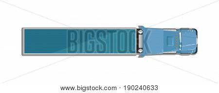 Commercial semi truck isolated top view icon. Commercial van, modern lorry car, freight transport side view vector illustration.