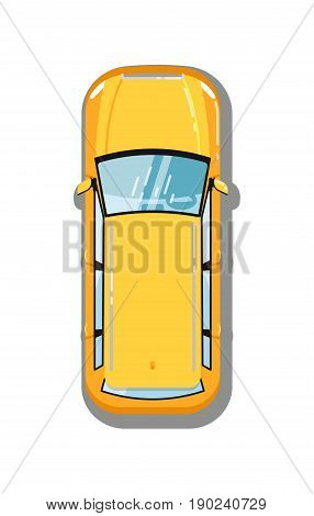 Modern universal car top view isolated icon. Family city car, comfortable automobile, people transport vector illustration.