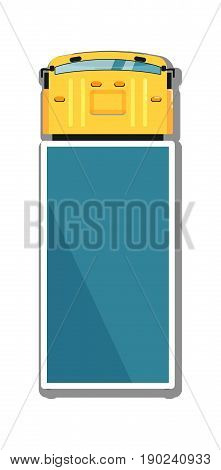 Commercial truck isolated top view icon. Commercial van, modern lorry car, freight transport side view vector illustration.