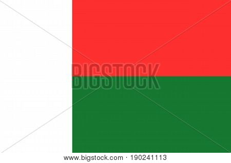Flag of Madagascar. Symbol african state in proportion correctly and official national colors. Patriotic sign Eastern Africa country. Vector icon illustration