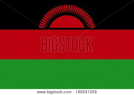 National flag of Malawi. Symbol african state in proportion correctly and official colors and sun. Patriotic sign East Africa country. Vector icon illustration