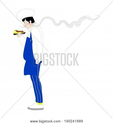 Vector illustration of a chef person on white background