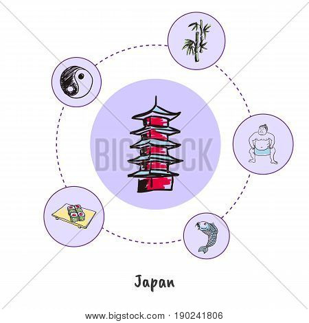 Attractive Japan. Pagoda tower colored doodle surrounded sumo wrestler, sushi, yin yang symbol, bamboo hand drawn vector icons. Japanese cultural, culinary, nature symbols. Travel in Asia concept