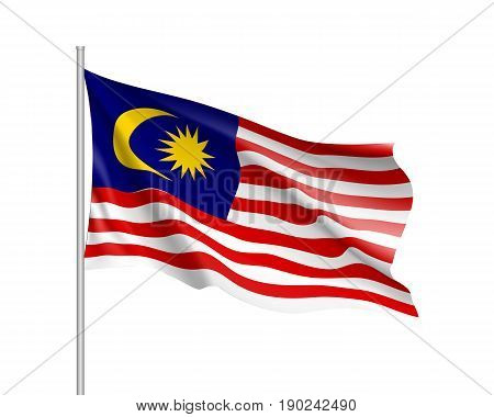Waving flag of Malaysia. Illustration of Asian country flag on flagpole. Vector 3d icon isolated on white background