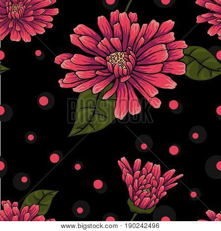 Seamless floral pattern on black background with dots. Abstract floral pattern with pink flowers and dots.