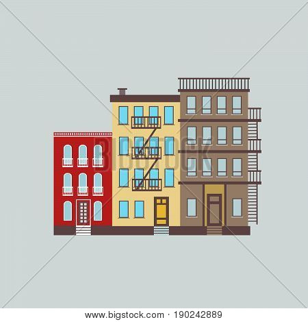 Vector llustration of  typical  city buildings  of New York  in trendy flat style