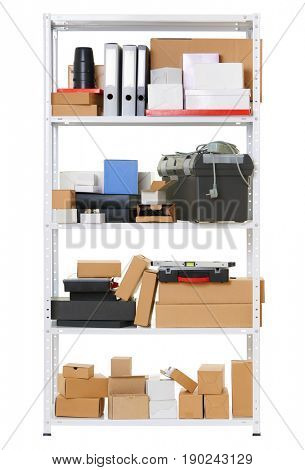 white metal rack with boxes and tools, isolated object photo