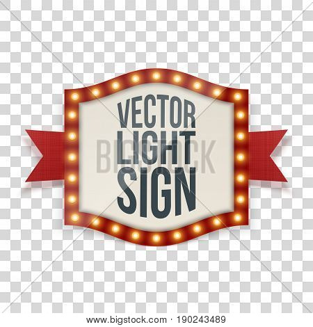 Illuminated Sign with Bulbs and decorative Ribbon. Vector Illustration