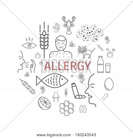 Allergy. Line icons set. Vector signs for web graphics.