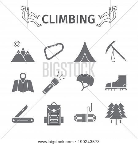 Rock climbing icons set. Vector illustration sign