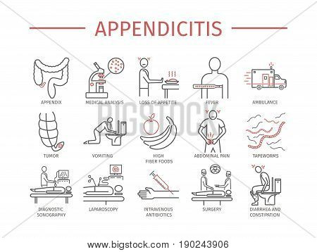 Appendicitis icons. Vector signs for web graphics