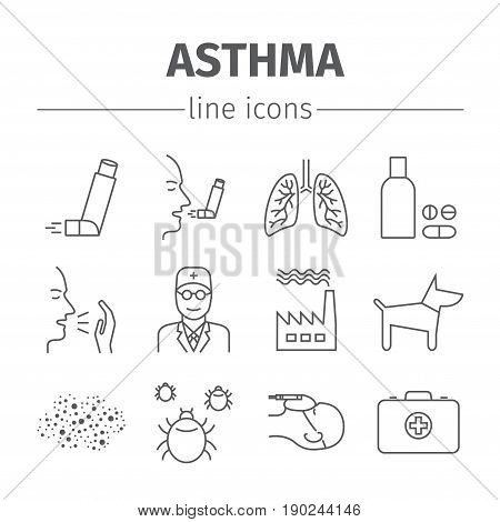 Asthma Symptoms and Symbols. Asthma vector line icons set.