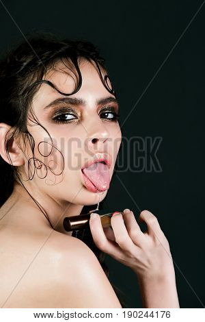 Pretty Girl With Saliva Dripping From Mouth With Tongue