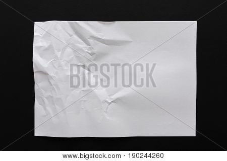 Crumpled white paper texture, paper background for design with copy space for text , top view, copy space