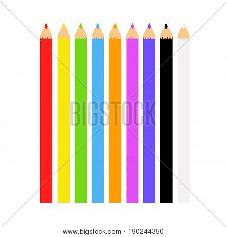 View on Coloured Pens in a Row. Colorful Crayons for Children. An Illustration of varicolored Pens.