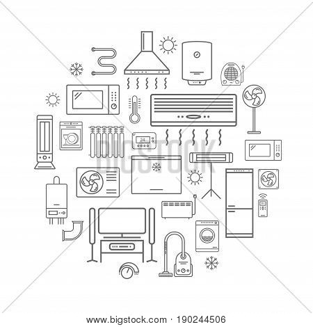 Household appliances sign vector line icons set.