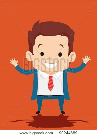 Vector Illustration of Kid in Business Suit Both Hands Up