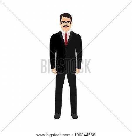 Smiling man clerk isolated vector illustration on white background