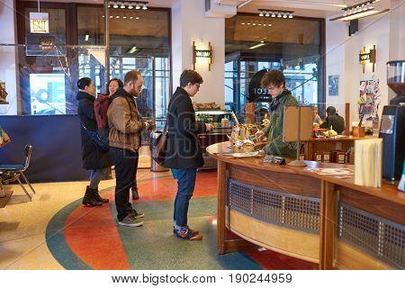 CHICAGO, IL - CIRCA MARCH, 2016: inside Dollop Coffee in Chicago.
