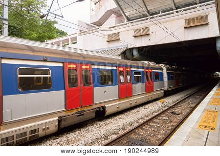 HONG KONG - SEPTEMBER 02, 2016: an MTR train on the East Rail Line. The East Rail Line is one of eleven railway lines of the Mass Transit Railway (MTR) system in Hong Kong