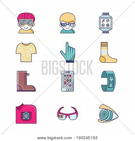 Set of vector icons for wearable technologies. Smart glasses, fitness tracker, smart phone, e-textile cloting, smart shoes, watch, virtual reality helmet, camera, gloves. Thin line color design. Good choice for infographic, web-design, brochure etc.