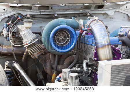 Turbo charger on deisel race car engine
