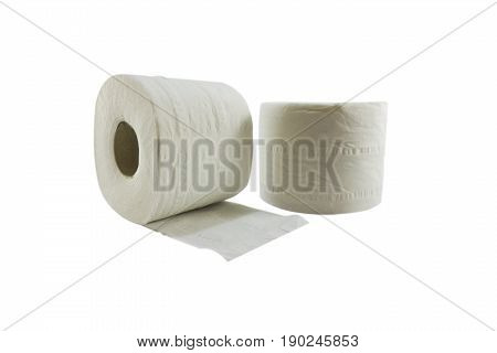 Tissue paper rolls on white background, isolated, soft focus