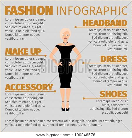 Fashion infographic with happy blonde in a tight dress. Vector illustration