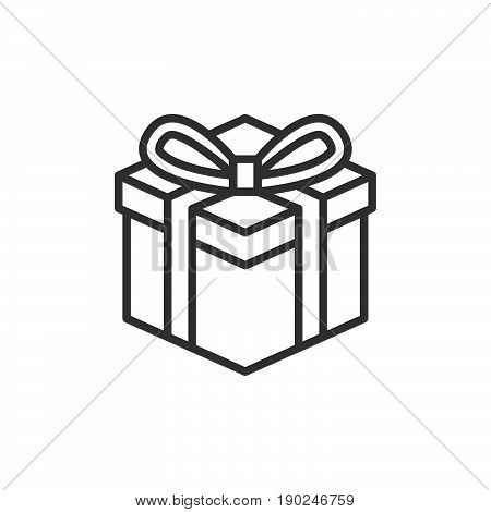 Gift box line icon outline vector sign linear style pictogram isolated on white. Present symbol logo illustration. Editable stroke. Pixel perfect