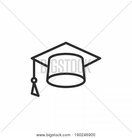 Mortarboard line icon Square academic cap outline vector sign linear style pictogram isolated on white. Symbol logo illustration. Editable stroke. Pixel perfect
