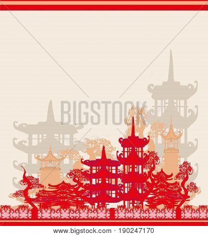Abstract Asian Landscape card , vector illustration