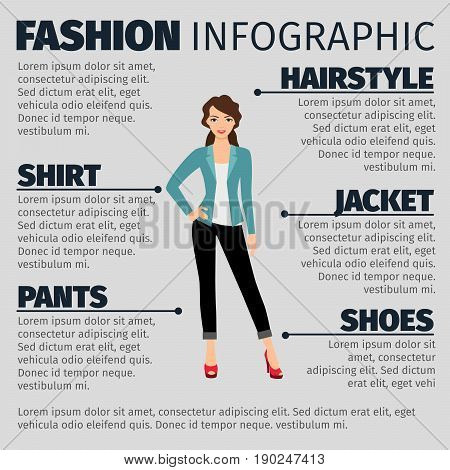 Fashion infographic with young girl in a business suit. Vector illustration