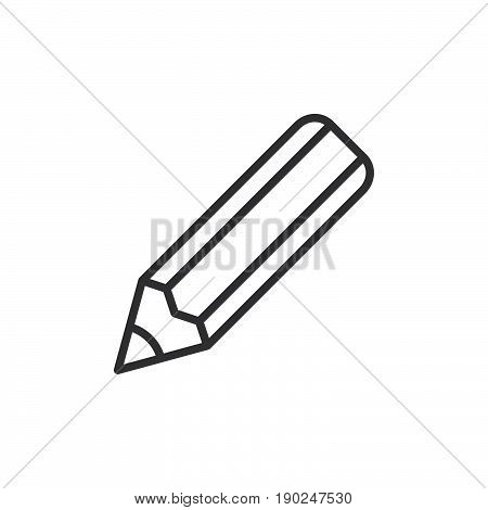 Pencil line icon outline vector sign linear style pictogram isolated on white. Write symbol logo illustration. Editable stroke. Pixel perfect
