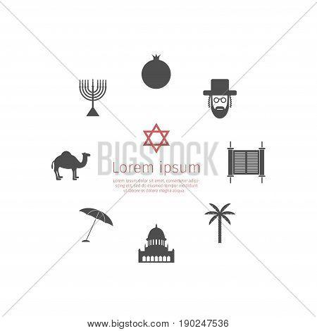 Israel icons set. Vector signs. Symbol pictogram