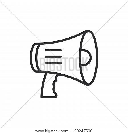 Megaphone bullhorn line icon outline vector sign linear style pictogram isolated on white. Symbol logo illustration. Editable stroke. Pixel perfect
