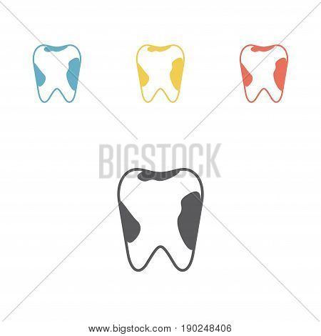 Caries tooth icon. Dental care symbol. Line Icon. Vector illustration