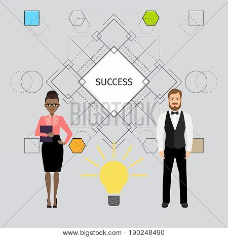 Success concept illustration with business people. Vector illustration