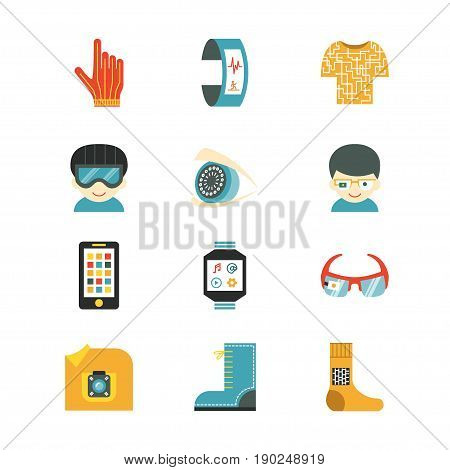 Set of vector icons for wearable technologies. Smart glasses, fitness tracker, smart phone, e-textile cloting, smart shoes, watch, virtual reality helmet, camera, gloves. Flat design, multicolor. Good choice for infographic, web-design, brochure etc.