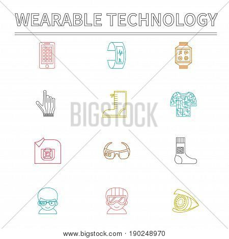 Set of vector icons for wearable technologies. Smart glasses, fitness tracker, smart phone, e-textile cloting, smart shoes, watch, virtual reality helmet, camera, gloves. Color thin line design. Good choice for infographic, web-design, brochure etc.