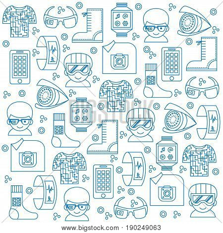 Vector seamless pattern with thin line icons for wearable technologies (smart gadget, fitness tracker, camera, phone, clothing, shoe, glasses). Monochrome outline elements. Could be used as background for web, textile, paper etc.