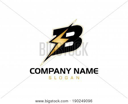 Letter B concept bolt logo on white background