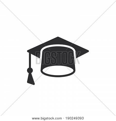 Mortarboard icon vector filled flat sign solid pictogram isolated on white. Square academic cap symbol logo illustration. Pixel perfect