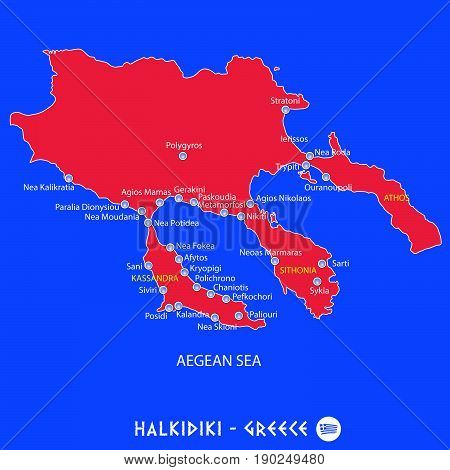 Peninsula Of Halkidiki In Greece Red Map Illustration