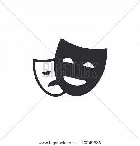 Theater masks icon vector filled flat sign solid pictogram isolated on white. Symbol logo illustration. Pixel perfect