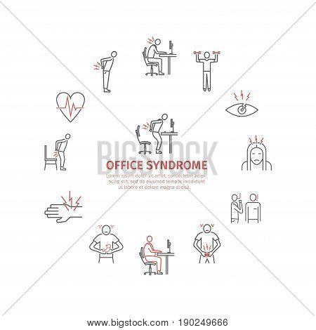 Office syndrome infographic. Symptoms and causes. Line icons set. Vector icons