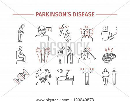 Parkinson's disease. Line icons set. Vector signs for web graphics.