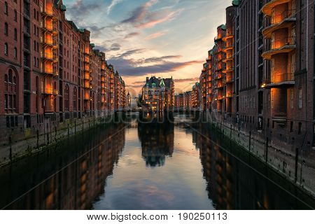 Old Speicherstadt in Hamburg illuminated ,Hamburg - Germany