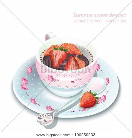 Vector chocolate strawberry mousse in a mug. Summer delicious dessert